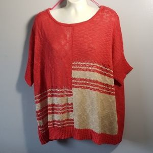 C.O.C Red/ Cream Knit Top NWT